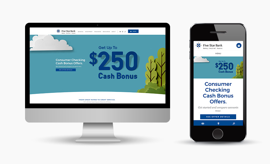 Five Star Bank Brand Development Digital Website